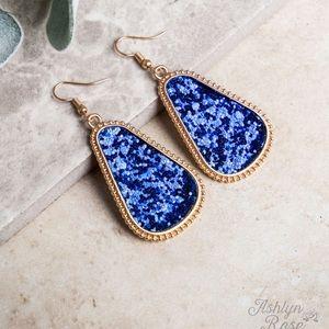 Gumdrop Glam Royal Blue Gold drop earrings dangle